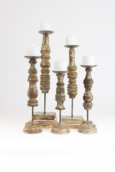 Set of 5 Repurposed Wooden Finial Candle Stands