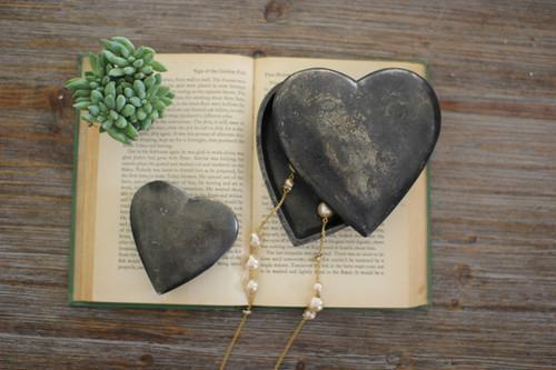 Set Of 2 Cast Aluminum Heart Boxes - Black