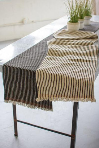 Set Of 2 Cotton & Jute Table Runners