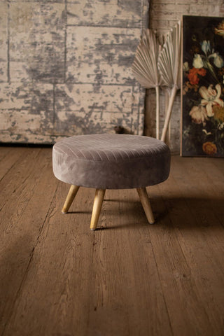 Velvet Ottoman With Wooden Legs  -  Cobblestone