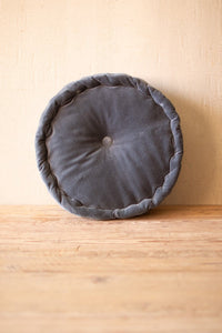 Round Velvet Floor Cushion  -  Steel Blue