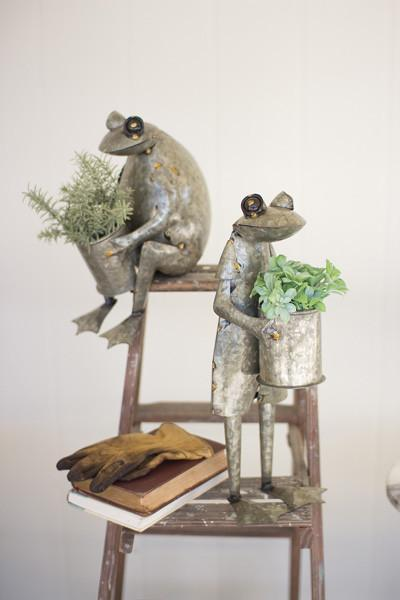 Set Of 2 Galvanized Frog Planters