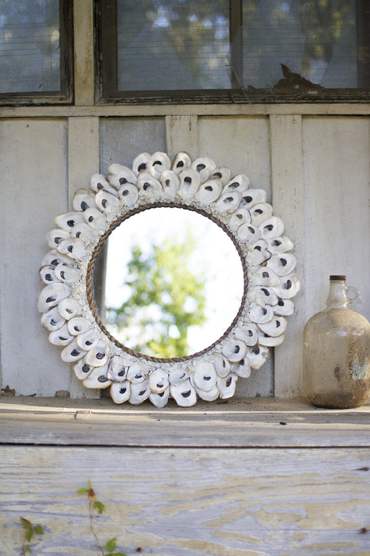 Large Round Oyster Shell Mirror