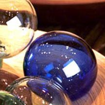 Set Of 6 Recycled Glass Balls - Blue