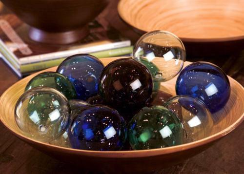 Set Of 6 Recycled Glass Balls - Clear