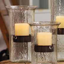 Original Glass Candle Cylinder With Rustic Insert - Medium
