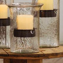 Glass Candle Cylinder with Rustic insert - Small - Hearts Attic
