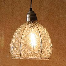 Glass Pendant Lamp With Brushed Silver Cap & Canopy - 8x10.5