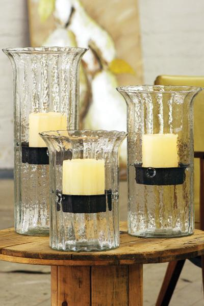 Ribbed Glass Candle Cylinder With Rustic Insert - Small