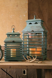 Set of 2 Vintage Blue Shutter Lanterns