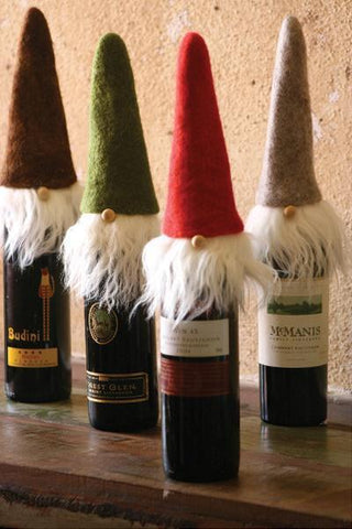 Set Of 4 Felt Santa Wine Toppers With Wispy Beards