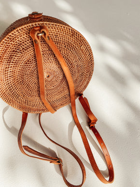 Round Rattan Backpack