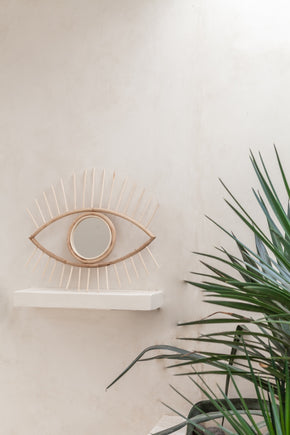 Opened Eyes Rattan Mirror