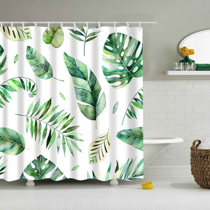Watercolor Leaves Fern Shower Curtain