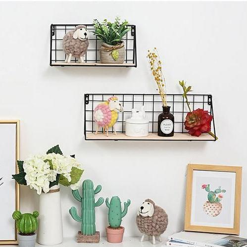 Netted Iron With Wood Wall Rack