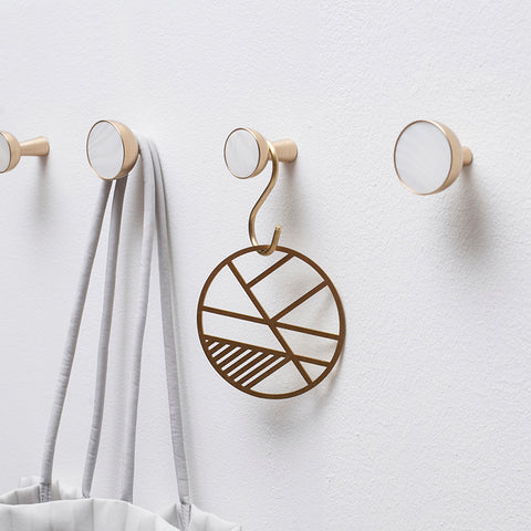 Brass and mother of pearl hooks
