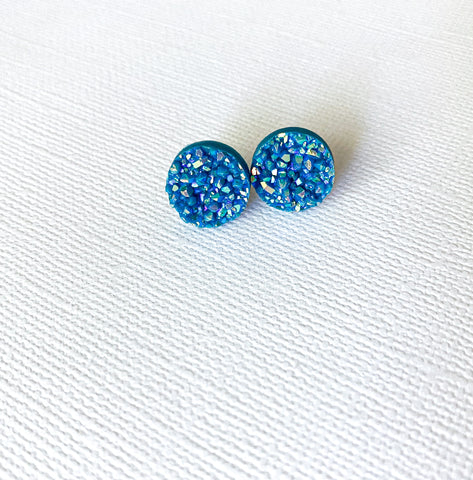 Teal Blue Druzy Earrings