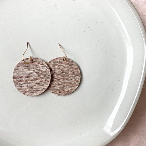 Pink Blended Fabric Cirlce Leather Earrings