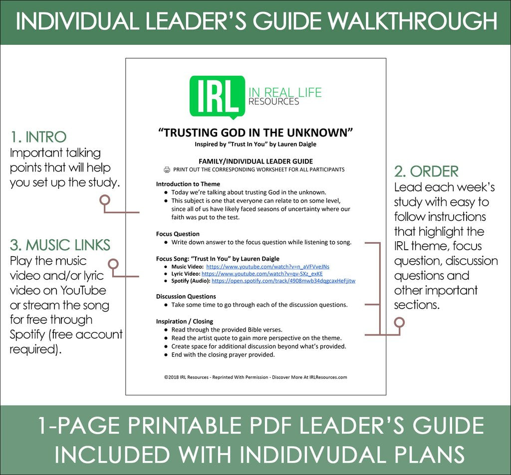Irl Resources Music Based Devotional Bible Study Series Youth