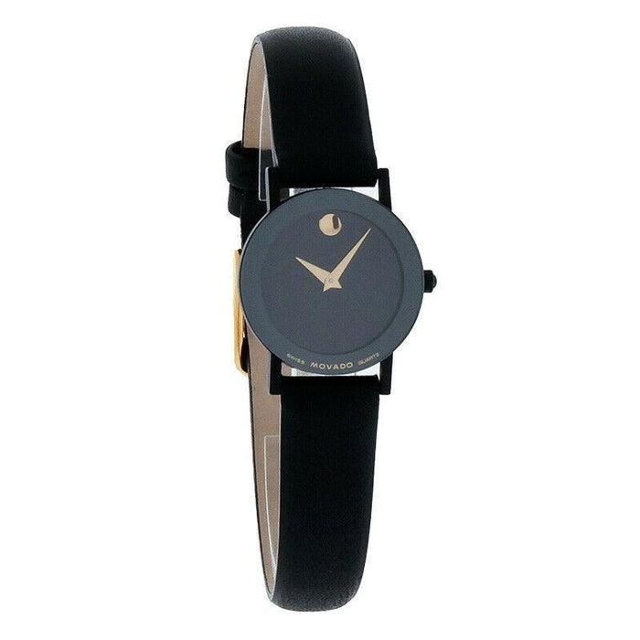Movado Museum Quartz Black Leather Watch 0602655