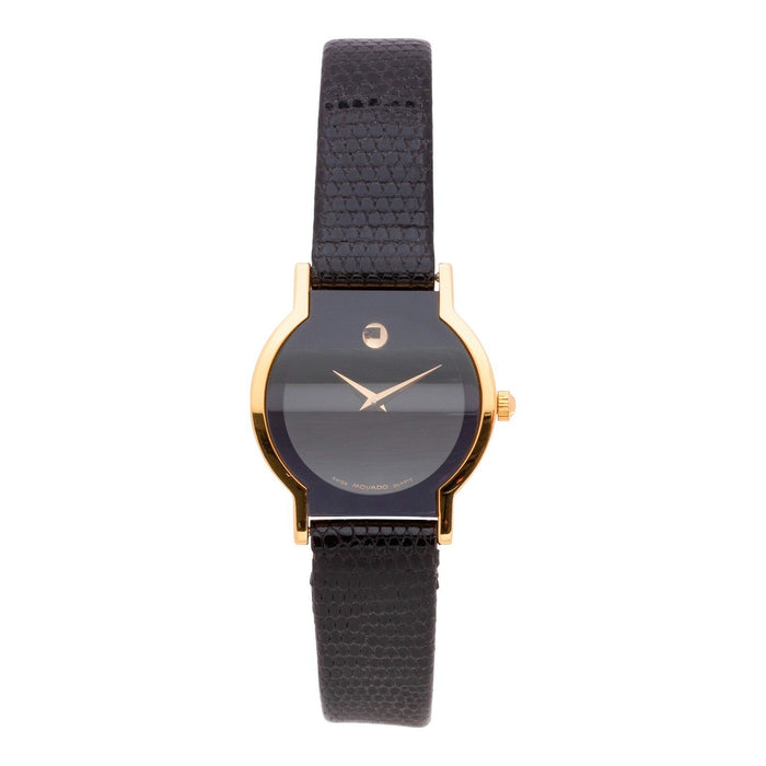 Movado Horizon Quartz Black Leather Watch 0602773
