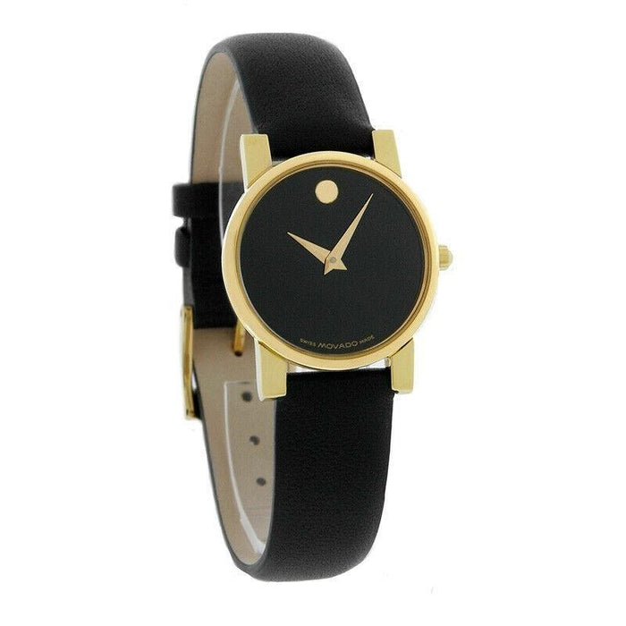 Movado Moderno Quartz Black Leather Watch 0604229