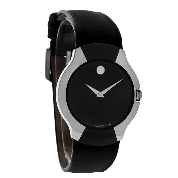 Movado Allia  Quartz Black Leather Watch 0604460