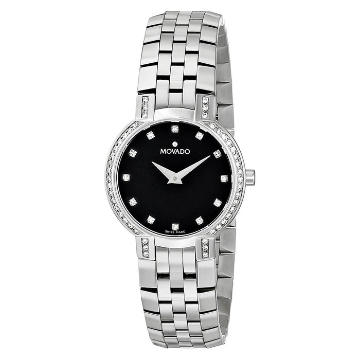 Movado Faceto Quartz Diamond Stainless Steel Watch 0605586