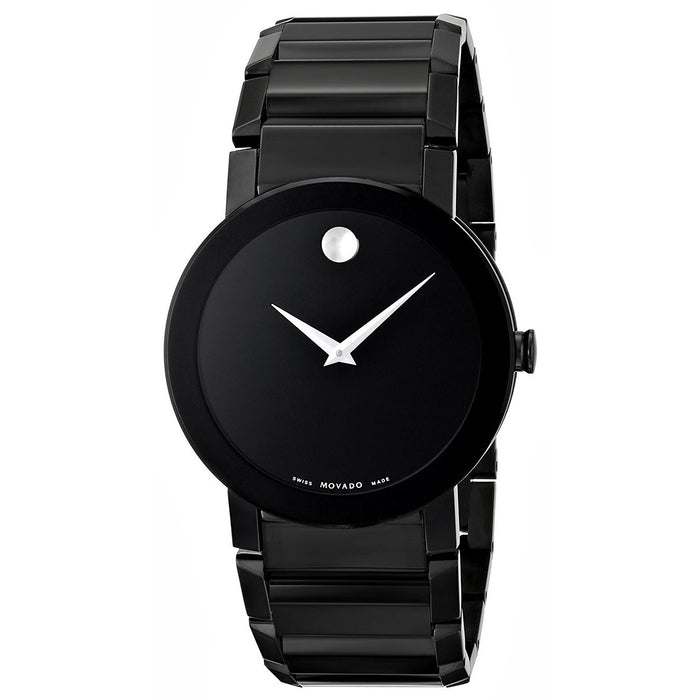 Movado Sapphire Quartz Black Stainless Steel Watch 0606307