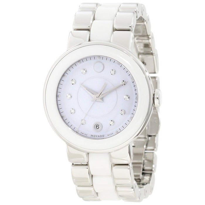 Movado Cerena Quartz Diamond White Ceramic Watch 0606540