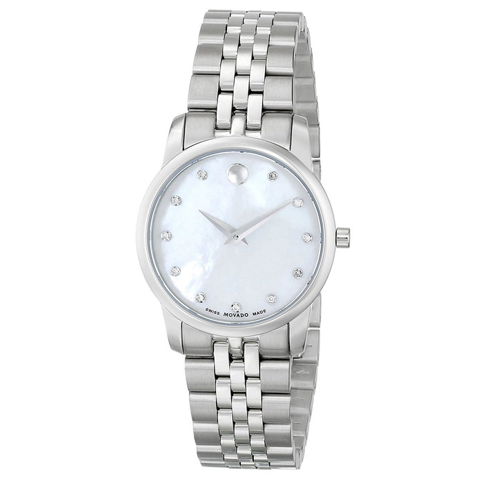 Movado Museum Quartz Diamond Stainless Steel Watch 0606612