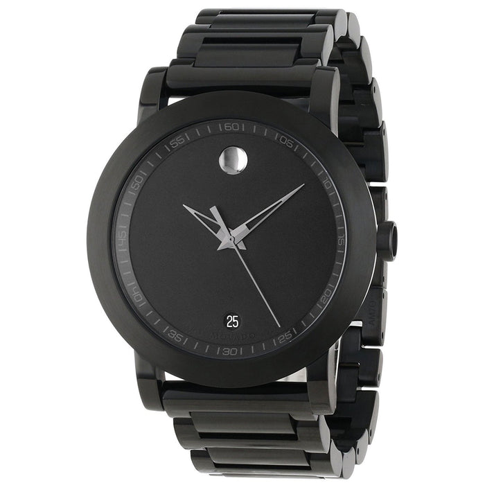 Movado Museum Quartz Black Stainless Steel Watch 0606615