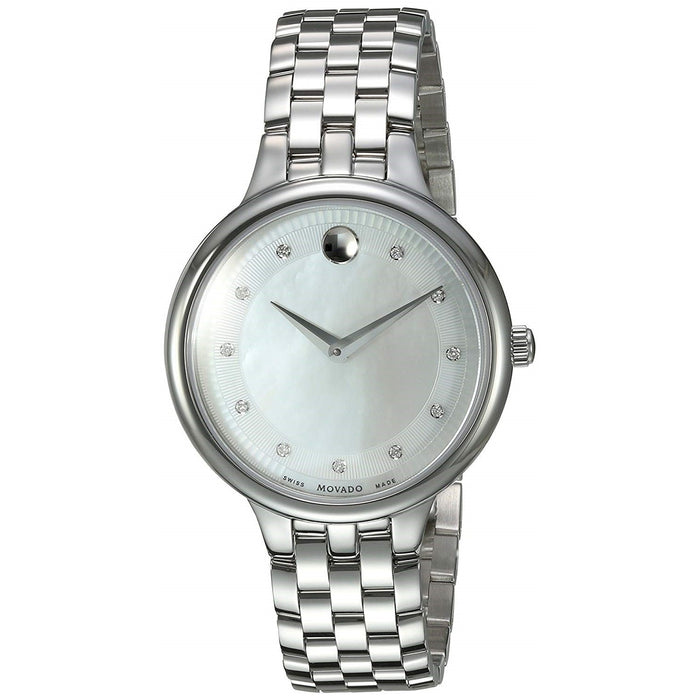 Movado Trevi Quartz Diamond Stainless Steel Watch 0606810