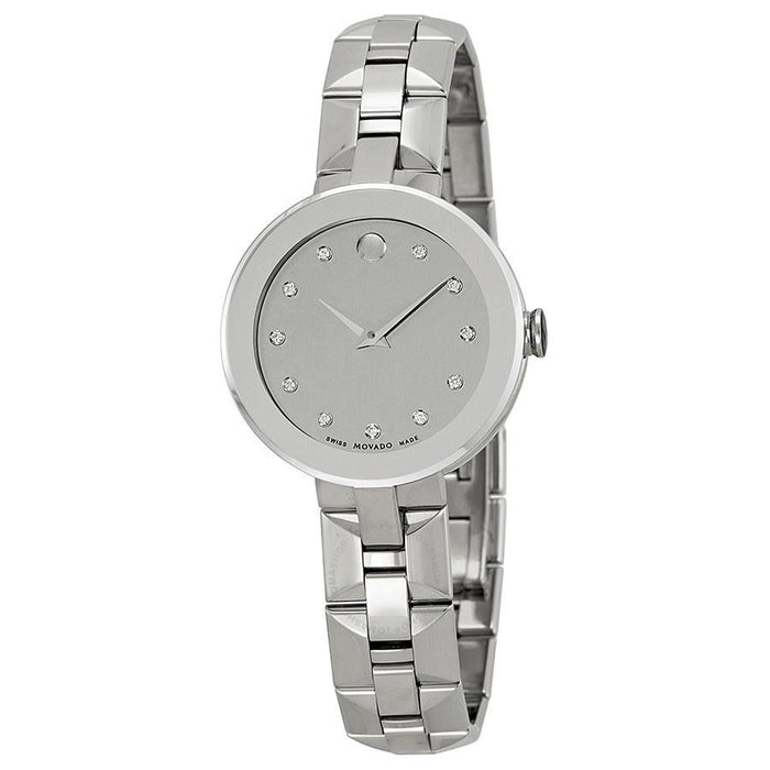 Movado Sapphire Quartz Diamond Stainless Steel Watch 0606814