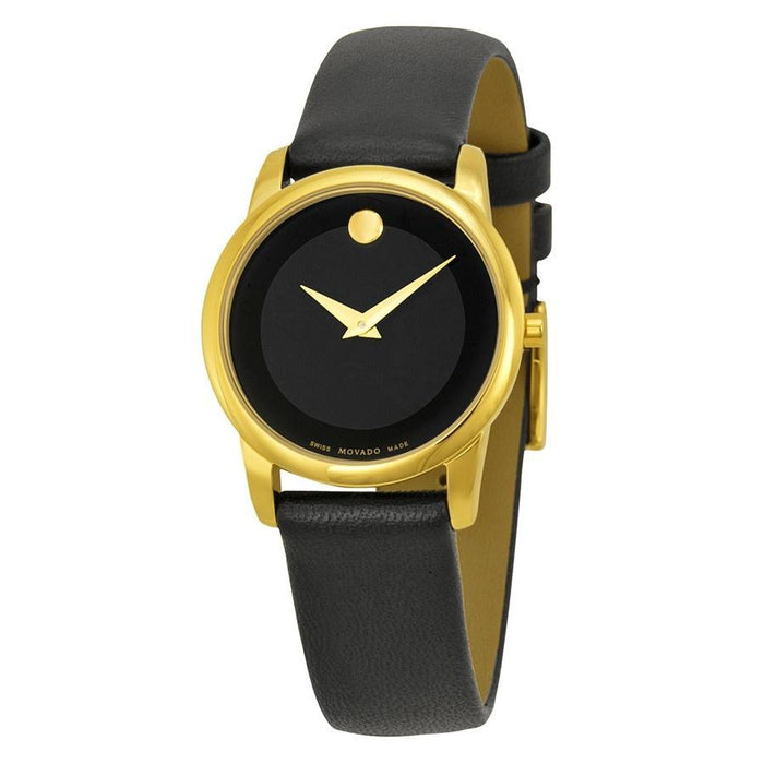 Movado Museum Quartz Black Leather Watch 0606877