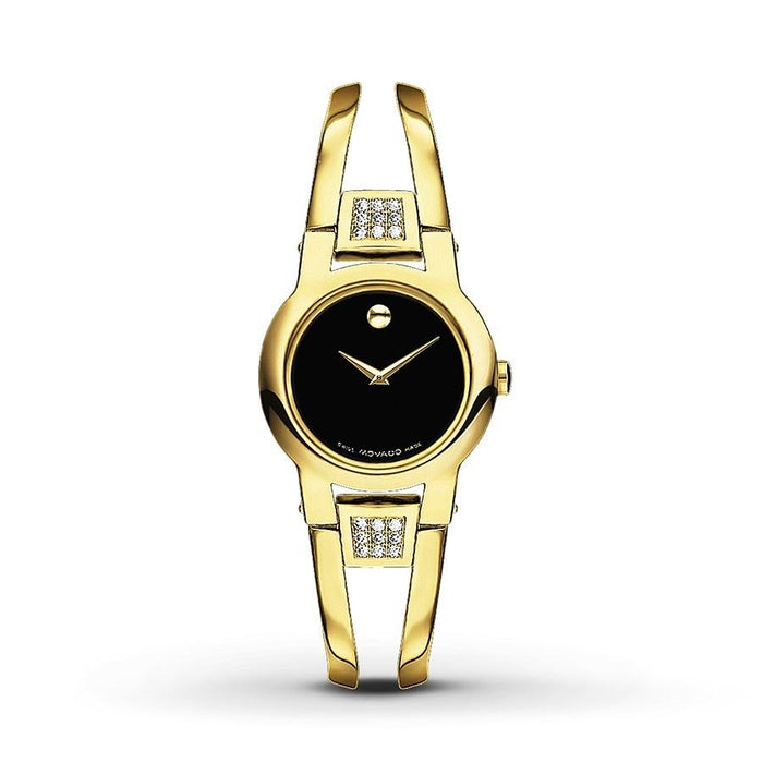 Movado Amorosa Quartz Gold-Tone Stainless Steel with  Sets of Diamonds Watch 0606895