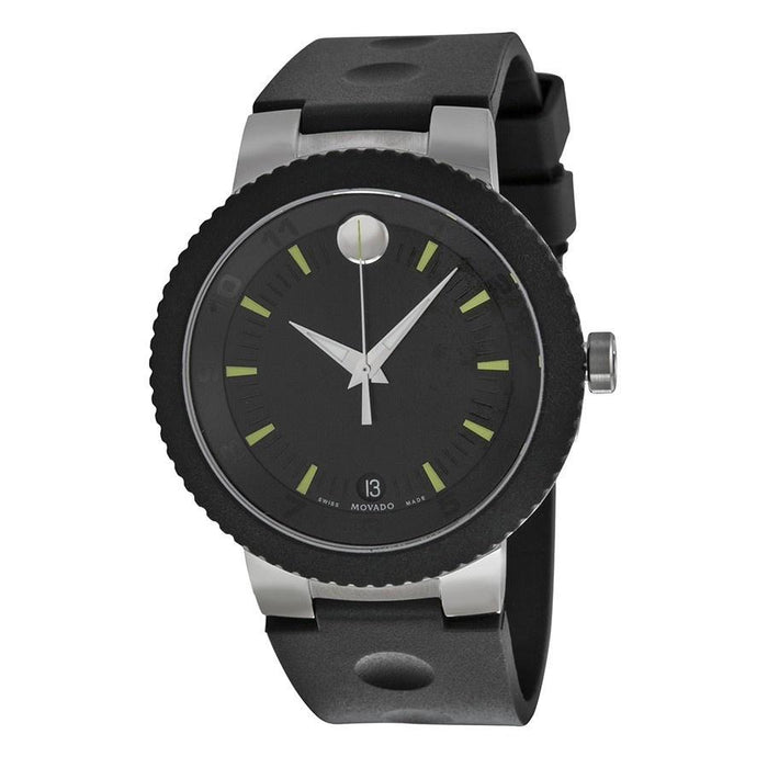 Movado Sport Edge Quartz Black Rubber Watch 0606928