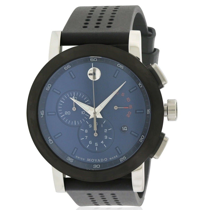 Movado Museum Quartz Chronograph, Crystal Black Rubber Watch 0607003