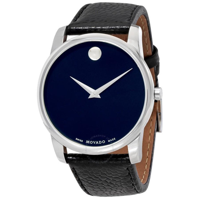 Movado Museum Quartz Black Leather Watch 0607013