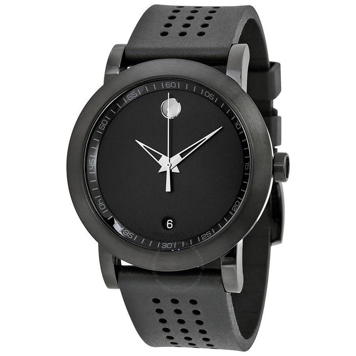 Movado Museum Quartz Black Rubber Watch 0607038