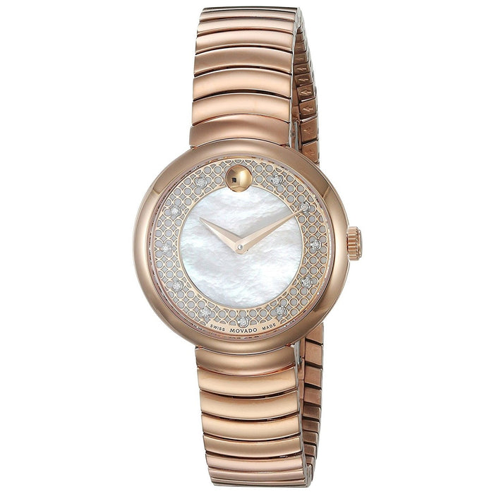 Movado Myla Quartz Diamond Rose-Tone Stainless Steel Watch 0607046