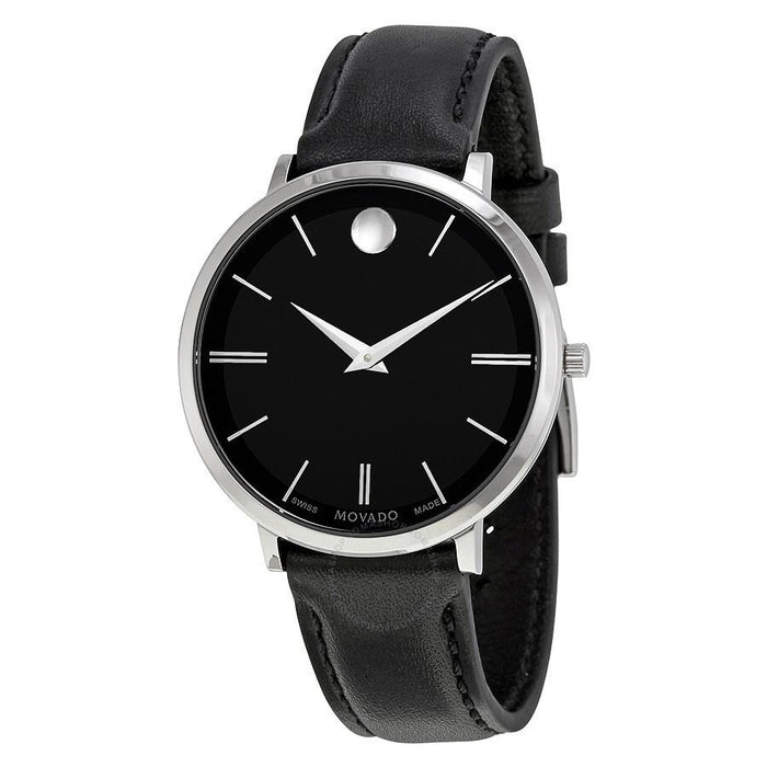 Movado Ultra Slim Quartz Black Leather Watch 0607090