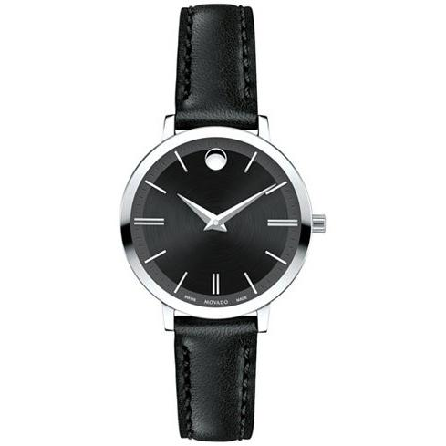 Movado Ultra Slim Quartz Black Leather Watch 0607094