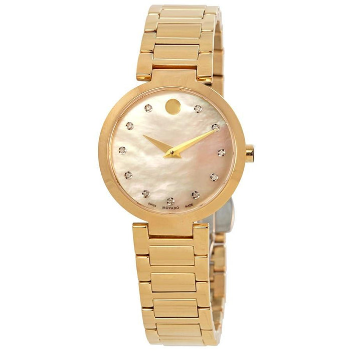 Movado Modern Classic Quartz Diamond Gold-Tone Stainless Steel Watch 0607105