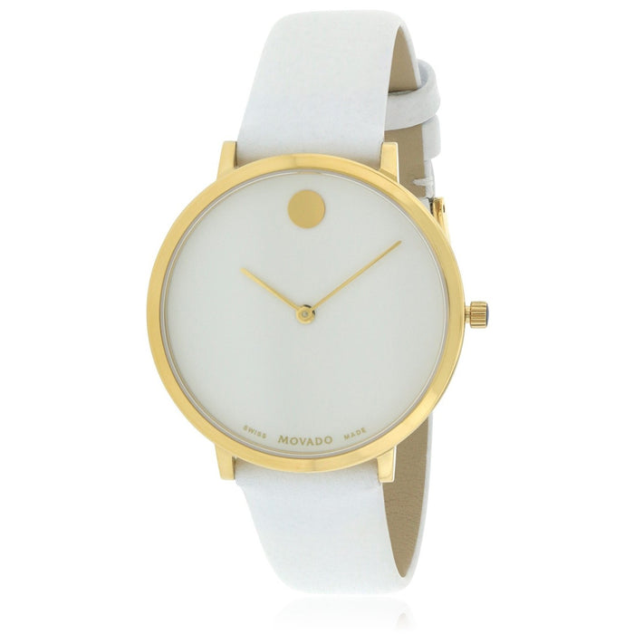 Movado Museum Quartz 70th Anniversary White Leather Watch 0607138