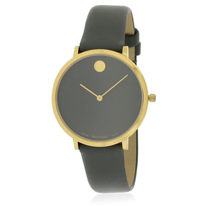Movado Museum Quartz Dot Grey Leather Watch 0607140