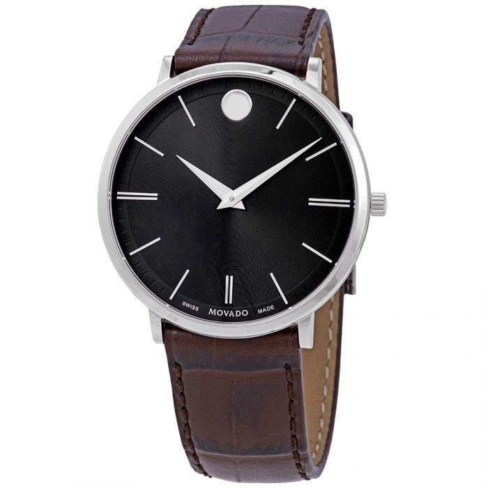 Movado Ultra Slim Quartz Brown Leather Watch 0607172