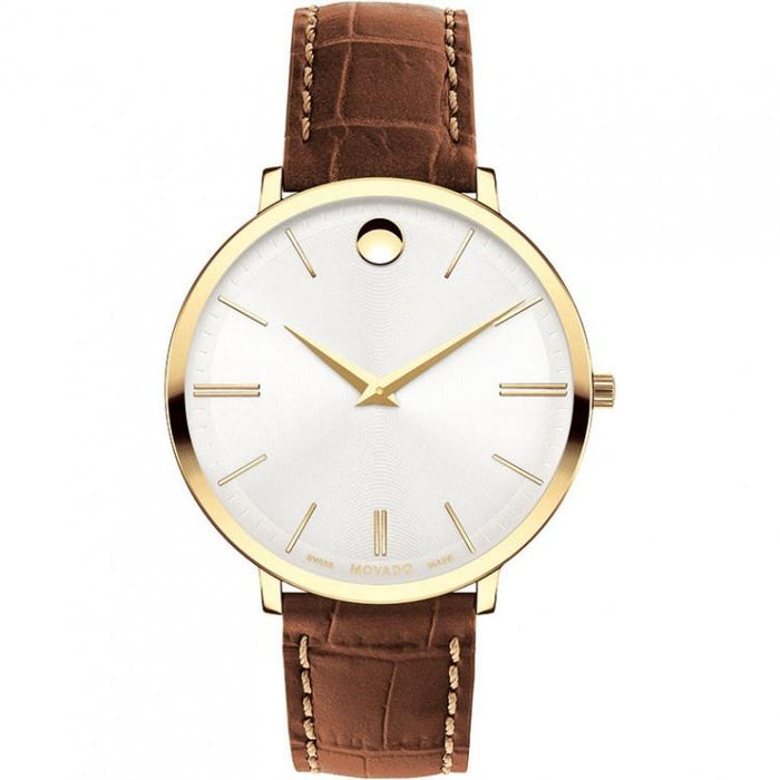 Movado Ultra Slim Quartz Brown Leather Watch 0607176