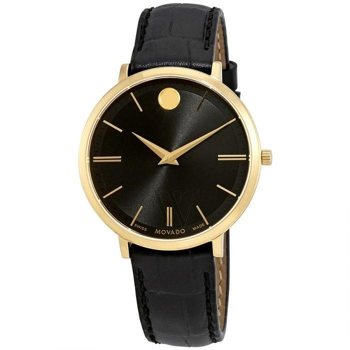 Movado Ultra Slim Quartz Black Leather Watch 0607182