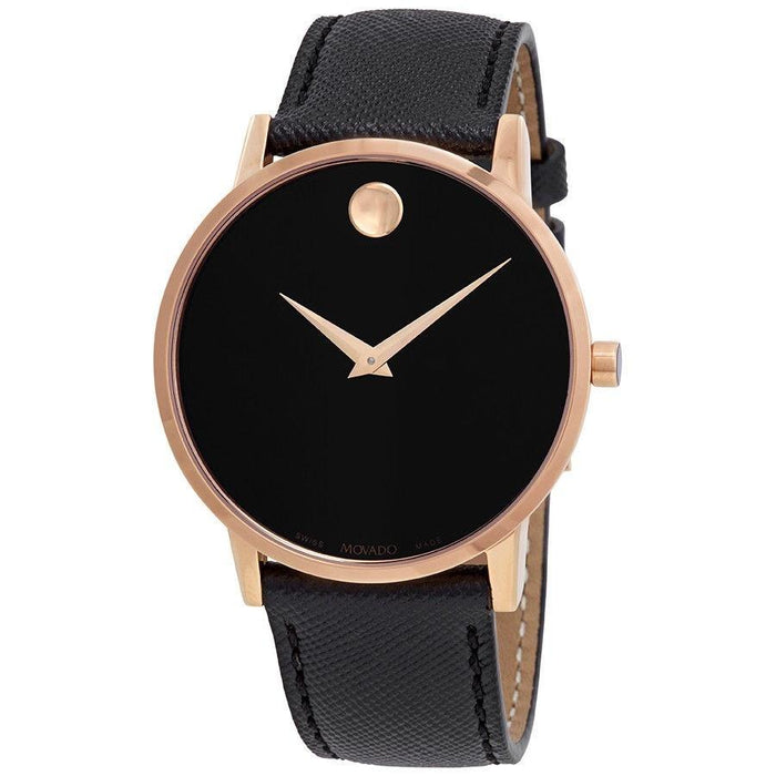 Movado Museum Quartz Black leather Watch 0607196
